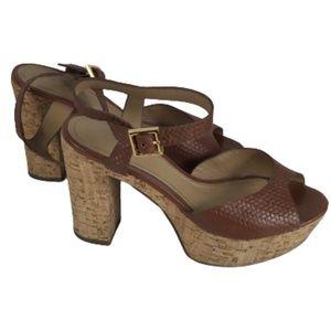 Dumond Platform Block Heel Sandal Cork Brown 35